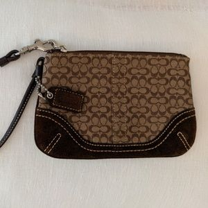 Brown and Tan Coach Wristlet (Small)